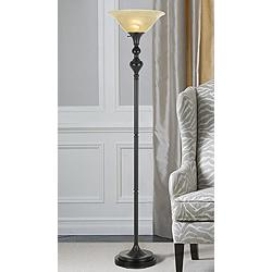 Alamo Dark Bronze Torchiere Floor Lamp