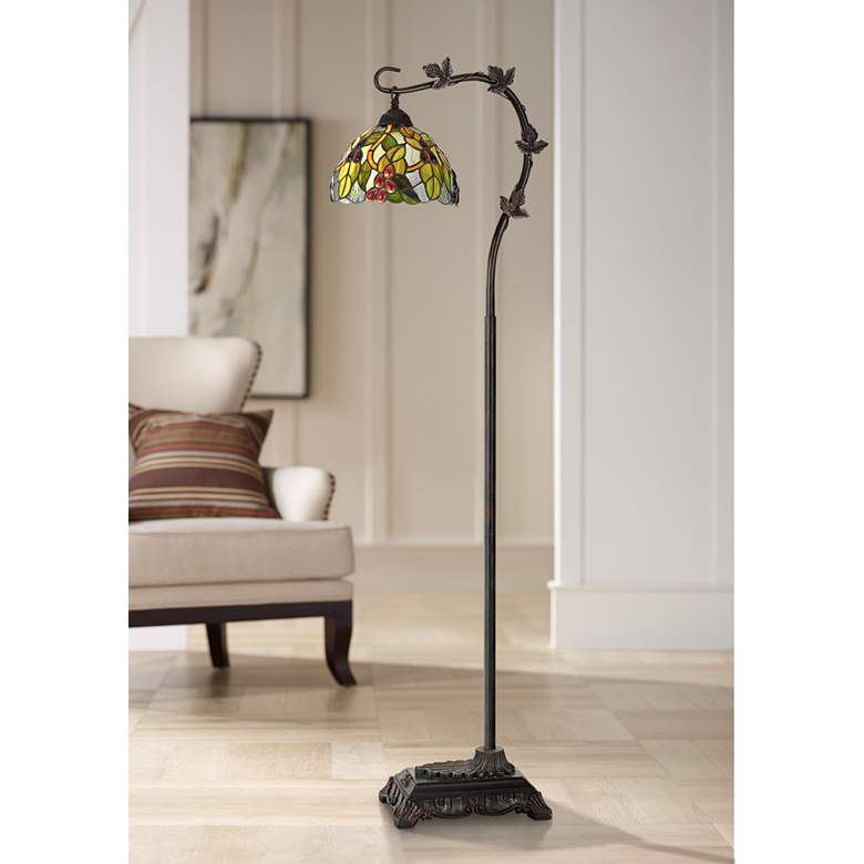 Cotulla Bronze Floor Lamp with Tiffany Glass Shade