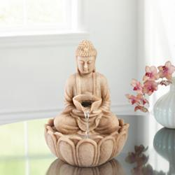 "Sitting Buddha 11""H Indoor/Outdoor Lighted Table Fountain"