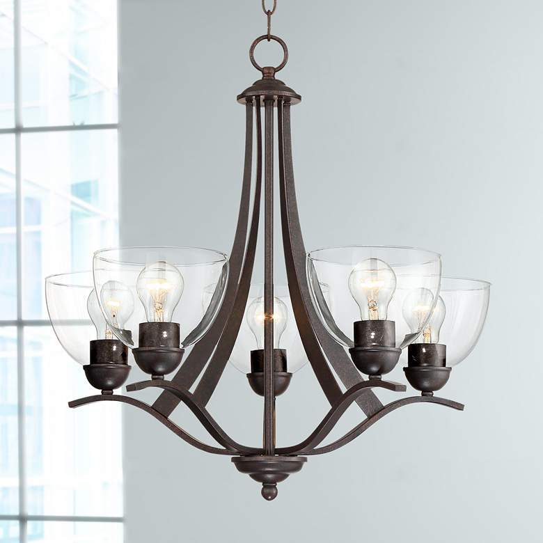 "Airington 21 1/2""W Bronze and Clear Glass 5-Light"
