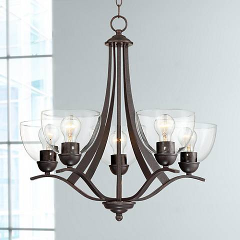 "Bellis 21 1/2""W Bronze and Clear Glass 5-Light Chandelier"