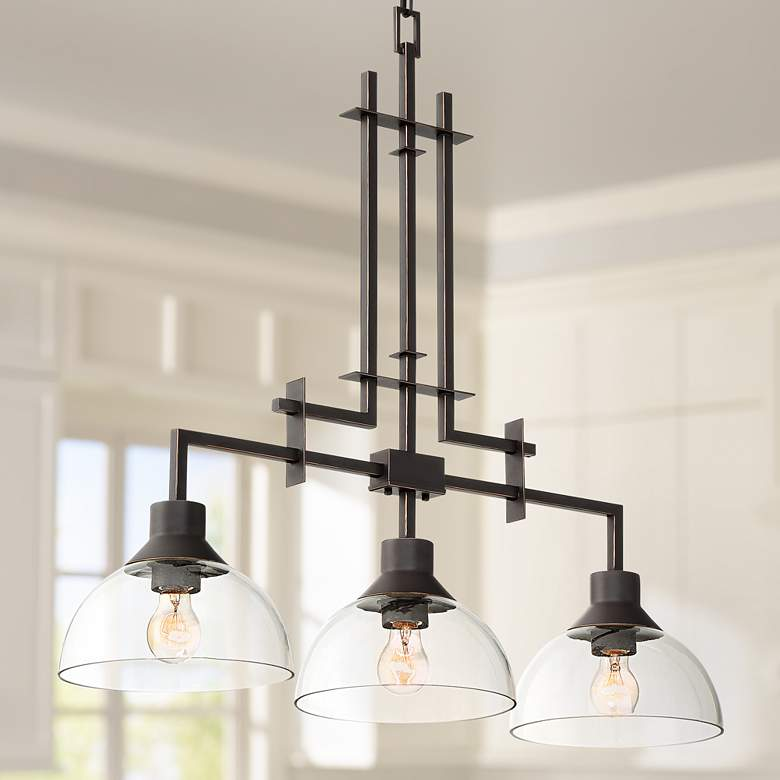 "Metro 32""W Bronze and Clear Glass 3-Light Island Chandelier"