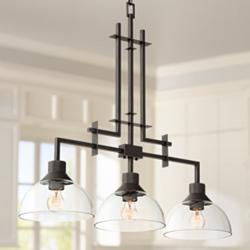 "Metro 32""W Bronze and Glass Kitchen Island Light Chandelier"