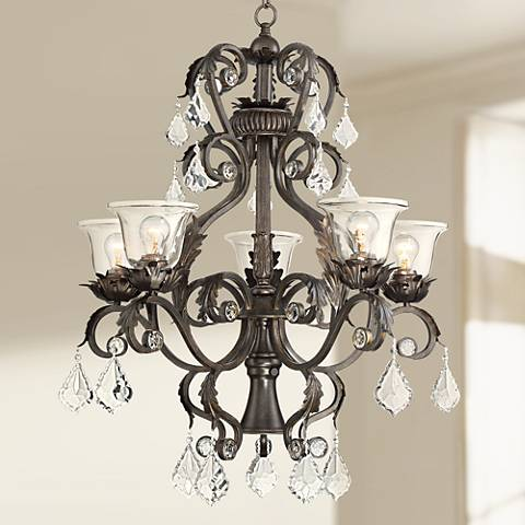"Ramas de Luces 29 1/2""W Bronze and Clear 6-Light Chandelier"