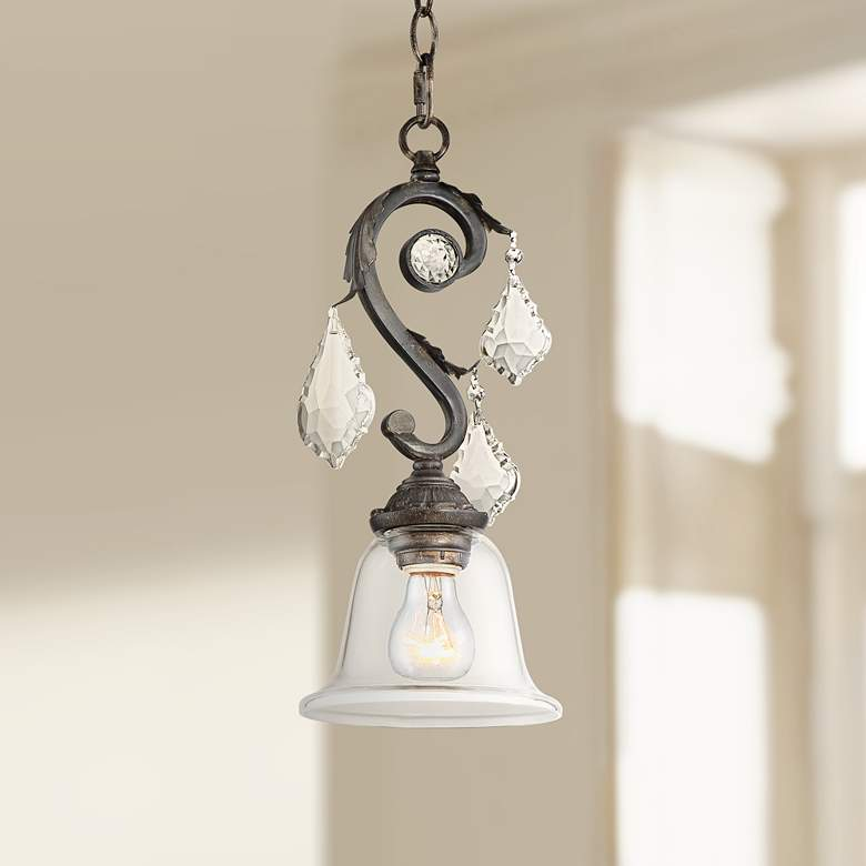 "Ramas de Luces 6 1/2""W Bronze and Clear Glass Mini Pendant"
