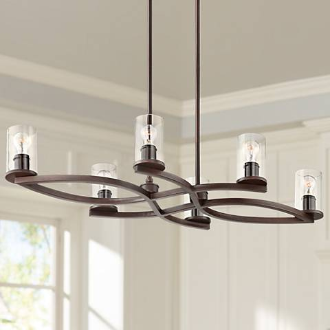 Fairport Bronze and Clear Glass 6-Light Island Chandelier