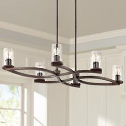 "Fairport 43"" Wide Bronze Kitchen Island Light Chandelier"