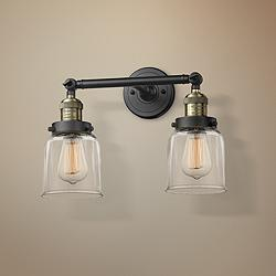 "Small Bell 10""H Black and Brushed Brass 2-Light Wall Sconce"