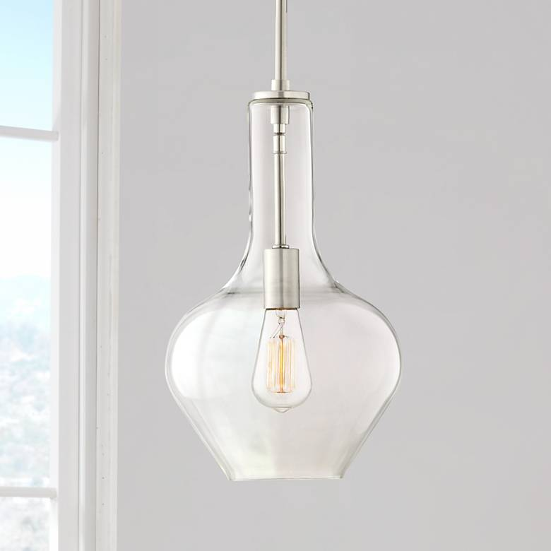 "Possini Euro Kerner 10"" Wide Brushed Nickel Mini Pendant"