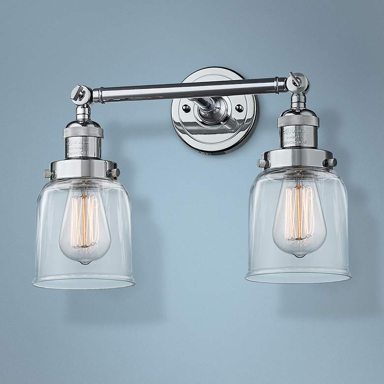 "Small Bell 10"" High Chrome 2-Light Adjustable Wall Sconce"