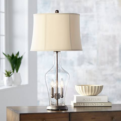Jeremy Clear Glass Table Lamp with Night Light