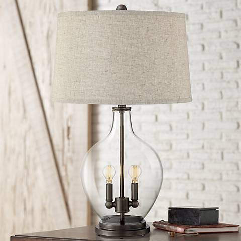 Becker Clear Glass Table Lamp with Night Light