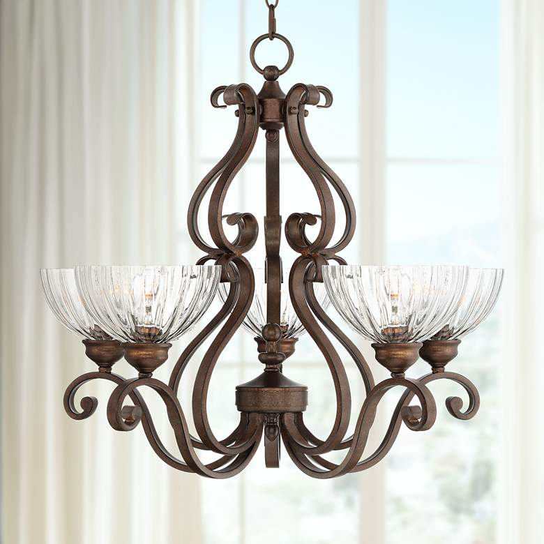 "Iron Scroll 27""W Bronze and Clear Glass 5-Light Chandelier"