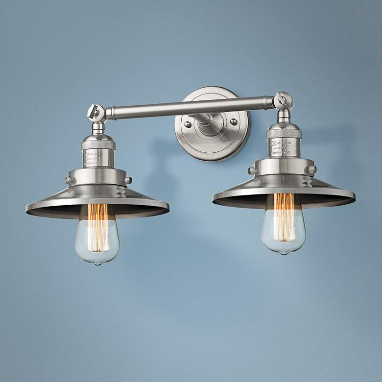"Railroad 8"" High Satin Nickel 2-Light Adjustable Wall"