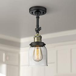"Small Bell 5"" Wide Black and Brass Adjustable Ceiling Light"