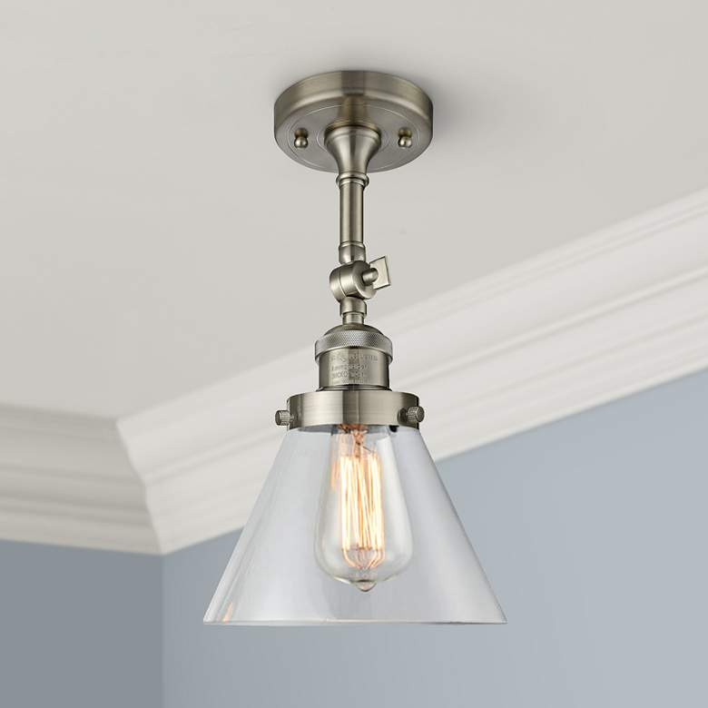 "Large Cone 8""W Satin Brushed Nickel Adjustable Ceiling"