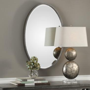 "Giana Silver 24 1/4"" x 36 1/4"" Oval Wall Mirror"