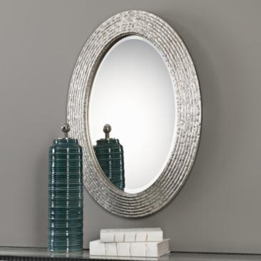 "Uttermost Conder Silver 25"" x 34"" Oval Wall Mirror"