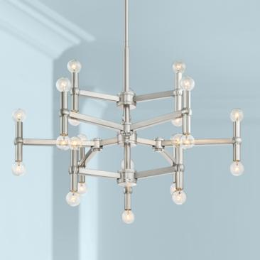 "Possini Euro Marya 32""W Brushed Nickel 24-Light Chandelier"