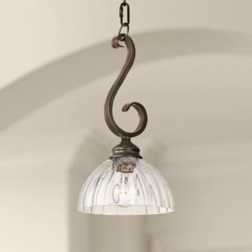"Ferro 8""W Bronze Iron Scroll and Clear Glass Mini Pendant"