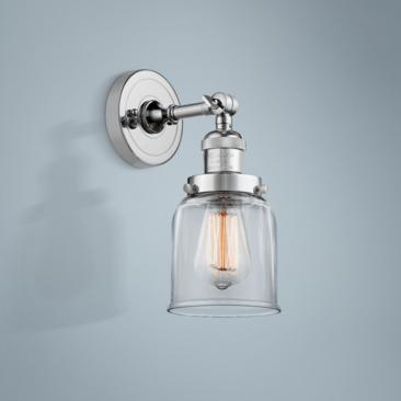 "Small Bell 10"" High Polished Chrome Adjustable Wall Sconce"
