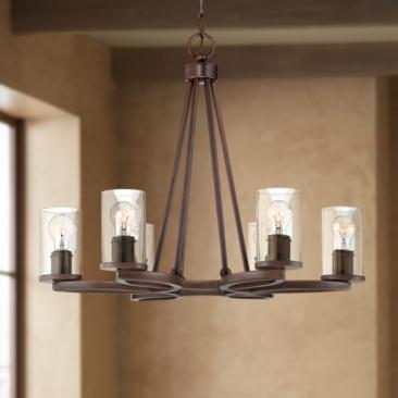 "Fairport 28"" Wide Bronze 6-Light Chandelier"