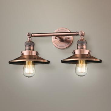"Railroad 8""H Antique Copper 2-Light Adjustable Wall Sconce"