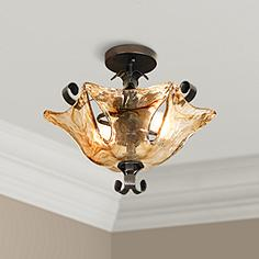Art glass semi flush mount close to ceiling lights lamps plus uttermost vetraio collection 17 wide ceiling light fixture mozeypictures Images