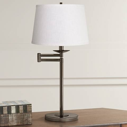 White Linen Bronze Swing Arm Desk Lamp