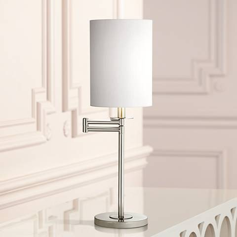 White Cotton Brushed Nickel Finish Swing Arm Desk Lamp