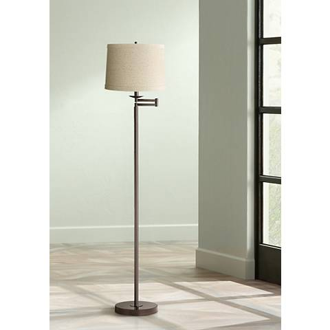 Natural Linen Drum Bronze Swing Arm Floor Lamp