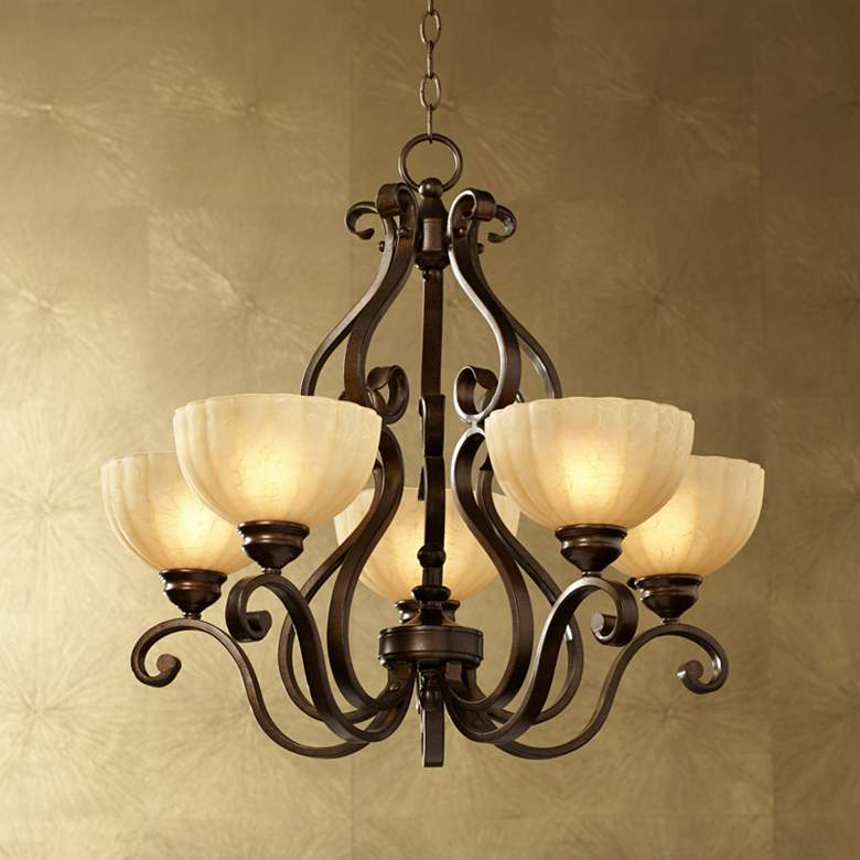 "Iron Scroll 28"" Wide Golden Bronze Five-Light Chandelier"