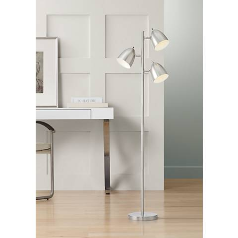 Aaron 3-Light Tree Brushed Nickel Floor Lamp