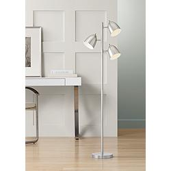 Aaron Brushed Nickel 3-Light Tree Floor Lamp