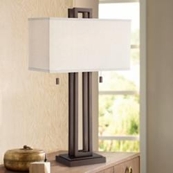 Gossard Double Rectangle Bronze Table Lamp