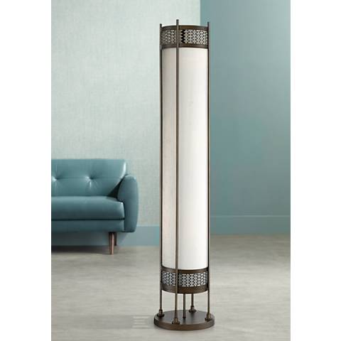 Possini Euro Design Lindy Bronze Cylinder Floor Lamp
