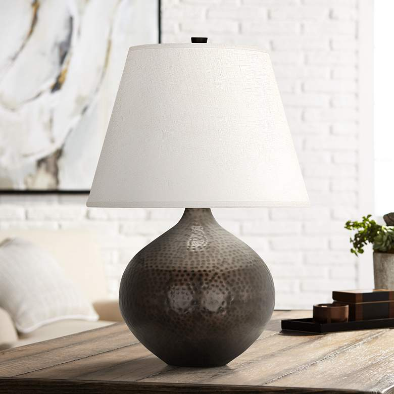 "Dal 19 1/4"" High Deep Patina Bronze Vessel Accent Table Lamp"
