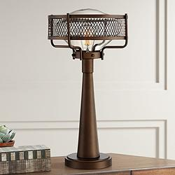 Travis Bronze Finish Farmhouse Style Table Lamp