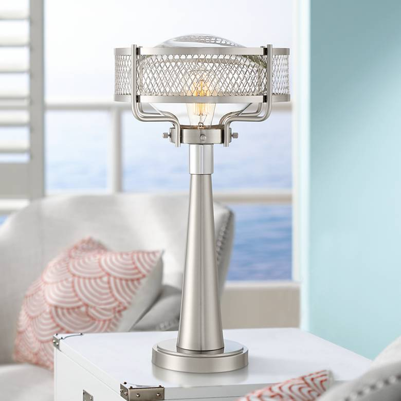 Travis Brushed Nickel Modern Table Lamp