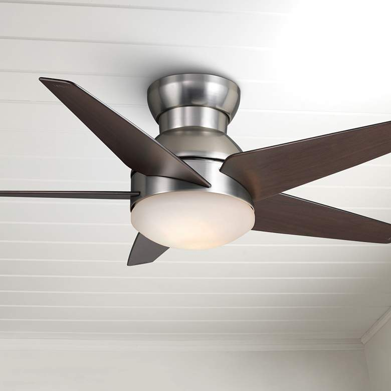"44"" Casablanca Isotope Brushed Nickel Hugger LED Ceiling"