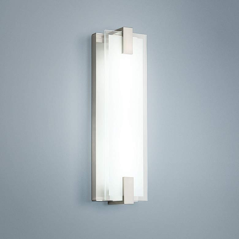 "dweLED Meridien 20"" High Brushed Nickel LED Wall Sconce"