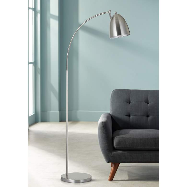 Garnett Brushed Steel Metal Arc Floor Lamp