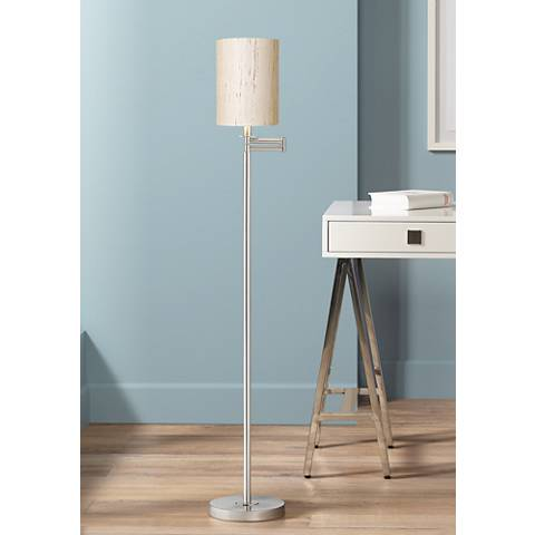 Ivory Linen Drum Brushed Nickel Finish Swing Arm Floor Lamp