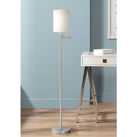 White Cotton Drum Brushed Nickel Finish Swing Arm Floor Lamp