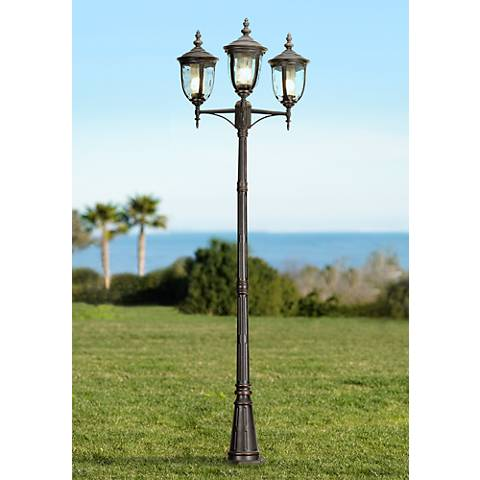 "Bellagio 96"" High Bronze Energy Efficient 3-Light Post Light"