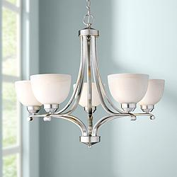 "Paradox Brushed Nickel 27"" Wide 5-Light Chandelier"
