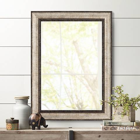 "Detrow Dark Antiqued 29 3/4"" x 39 3/4"" Wall Mirror"