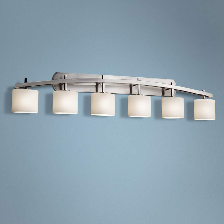 "Fusion Archway 56 1/2""W Brushed Nickel 6-Light Bath"