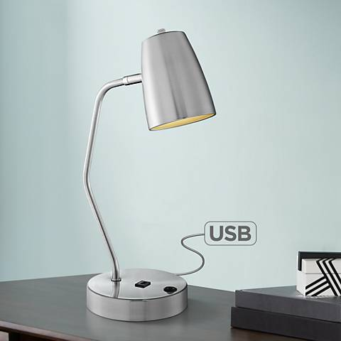 Lite Source Ronnie Brushed Nickel Desk Lamp w/ USB Port