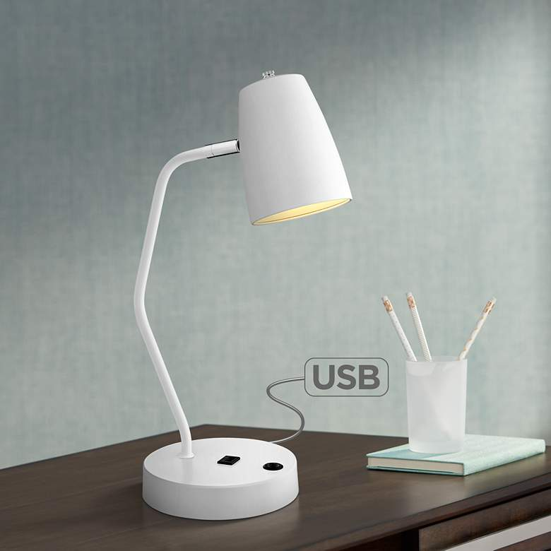 Lite Source Ronnie White Metal Desk Lamp with USB Port